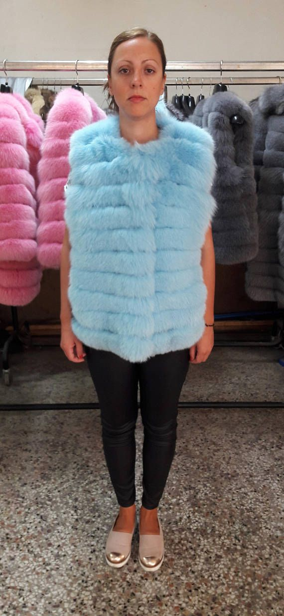 REAL fOX fUR VEST LIGHT bLUE see pictures for a variety of