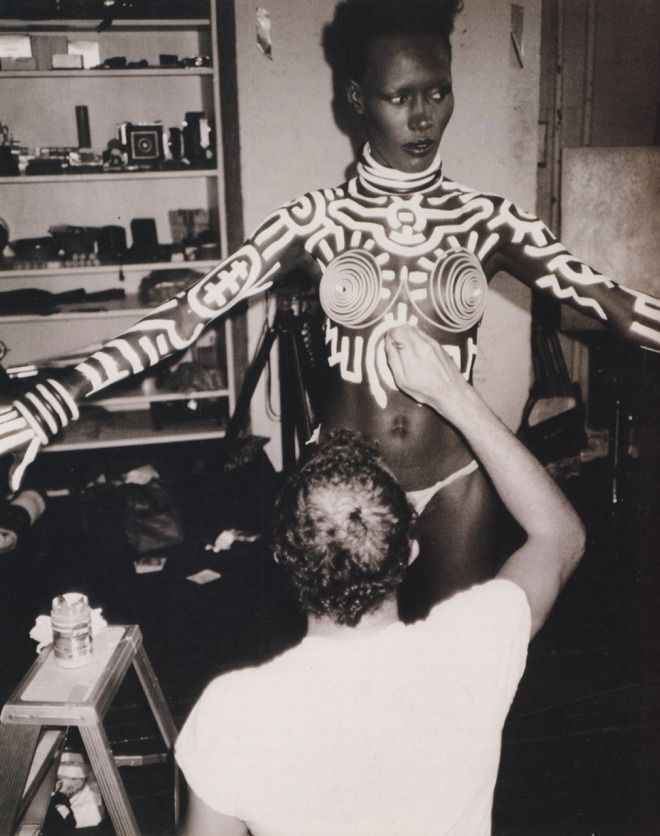 Grace Jones body-painted by artist Keith Haring