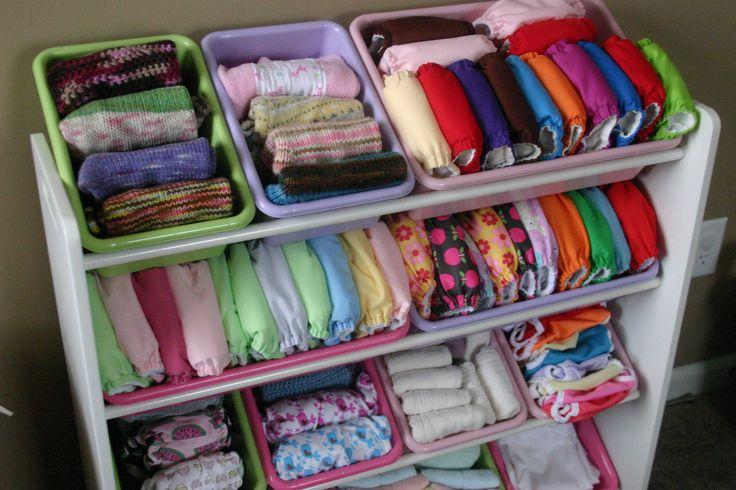 Nice cloth nappy storage idea.