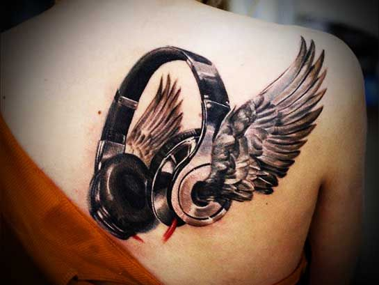 Tattoo designs for women angel wings | Full Tattoo  They should have actually headphones with wings coming off them. I'd buy those...