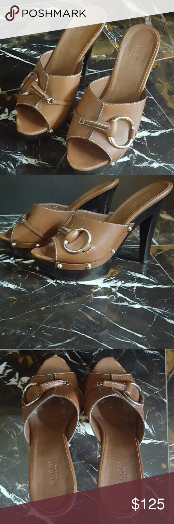 Gucci Mules Brown Leather Gucci Platform Mules. Leather Upper and Hardware. Purchased at Saks. Used. Very Comfortable. Gucci Shoes Mules & Clogs