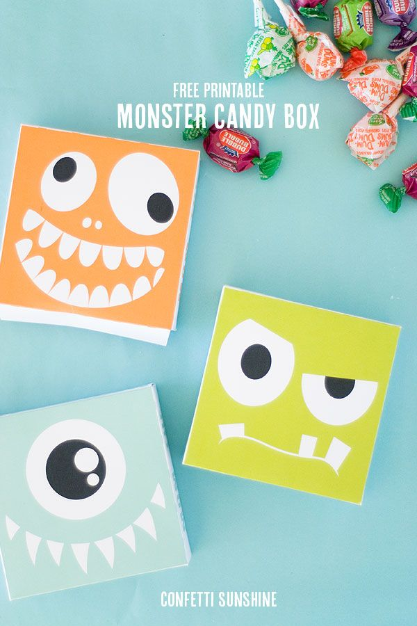 Free Printable Monster Candy Box - so cute!