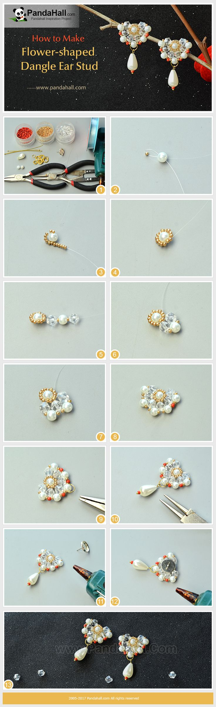 How to Make Flower-shaped Dangle Ear Stud With pearl beads, glass beads and seed beads, thread them into flower shape and stick a ear stud setting, and finally you will get a pair of exquisite earrings!