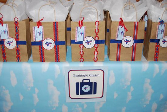 Baggage Claim Held Gift Bags With Personalized Luggage