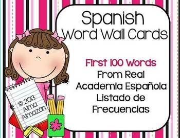 SPANISH Word Wall Cards 100 Sight Words