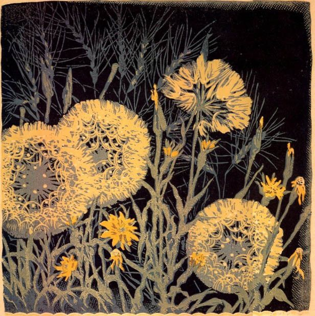 """Gustave Baumann - """"Dandelions"""" Baumann produced color woodcuts, paintings, furniture, sculpture, toys--he even wrote and acted in plays. :) His woodcuts, of course, are what put him on the map. The ultimate craftsman, his hands controlled every aspect of his craft: the carving of the blocks, the mixing of the inks and the printing of the blocks."""
