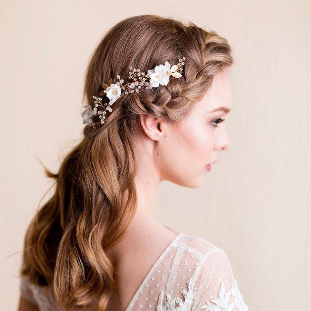 Suknia ślubna z Jedwabnym Kwiatem i Złotymi Liście - Florentes - Akcesoria do włosów