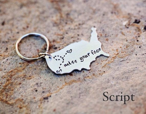 CUSTOM Long Distance Relationship KEYCHAIN - USA with Personalized Message