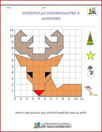 Christmas worksheets line coordinates Rudolf