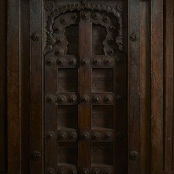 Single panel Burmese Teak doors with concealed sliders - Private Collections