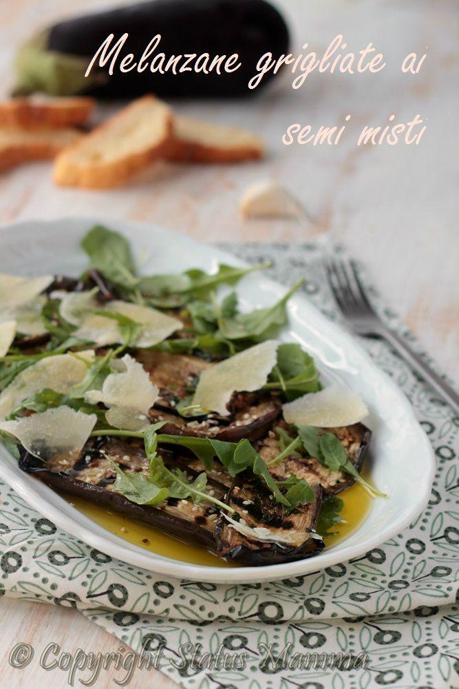 melanzane grigliate ai semi misti ricetta antipasto contorno secondo vegetariano con verdure e scaglie di grana facile e veloce