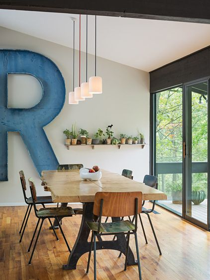 Midcentury Dining Room by STUDIOrobert jamieson - Love that big R and the shelf with the plants!