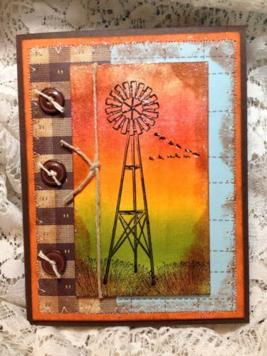 Handmade Masculine Pocket Card Windmill Any Occasion by Stampingsinger | eBay