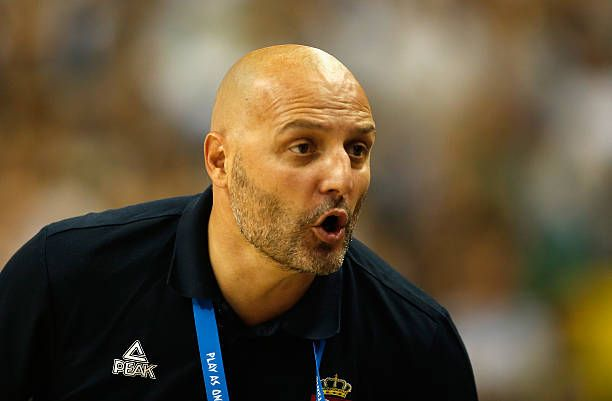 Head coach Aleksandar Djordjevic of Serbia reacts during the FIBA EuroBasket 2015 Group B basketball match between Serbia and Germany at Arena of...