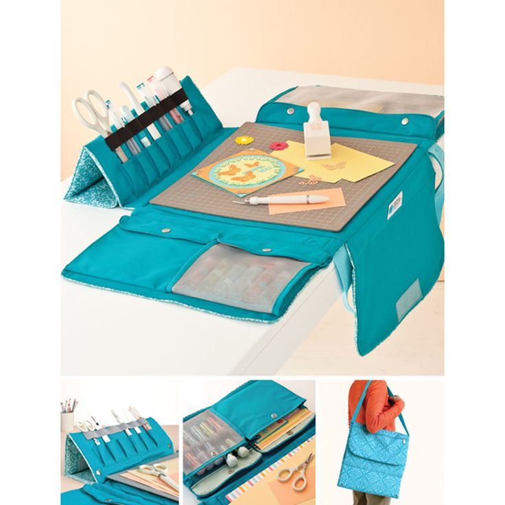 The Martha Stewart Crafts™ Portable Work Station makes it easy to bring your crafting essentials with you.  14.3-inches-by-15.3-inches-by-1.7-inches closed.Bag only -  All Tools shown sold separately. Bag opens to a 12 x 12in work surface designed to hold a cutting mat and scoring board.Large pocket can accommodate a 12x12in paper pad. Unique tool storage folds out to stand upright for easy access to crafting tools and writing instruments. Roomy pockets designed to hold photos…
