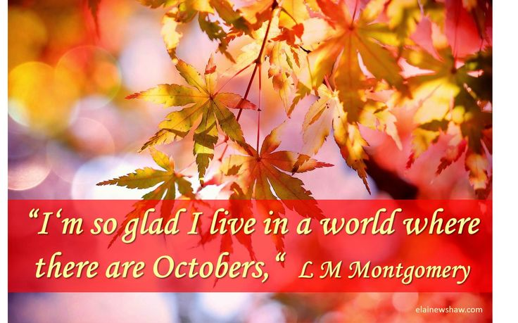 """I'm so glad I live in a world where there are Octobers,"" L M Montgomery Image quote elainewshaw.com"