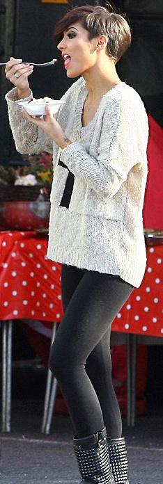 Frankie from The Saturdays wears LOVE STONE POPCORN CRUCIFIX OVERSIZED JUMPER