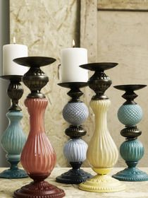 Glass and Bronze Candle Sticks - One Pair (Cianna) from Out There Interiors