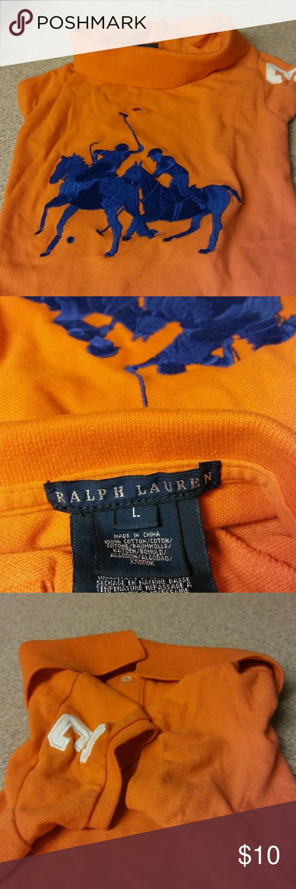 Dog shirt Designer ralph Lauren big horse doggie shirt size large,orange.clean odor free.comes from smokefree clean home.thanks for looking. Ralph Lauren Other