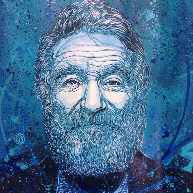 13 stencil graffiti portraits by French street artist C215 - Robin Williams memorial
