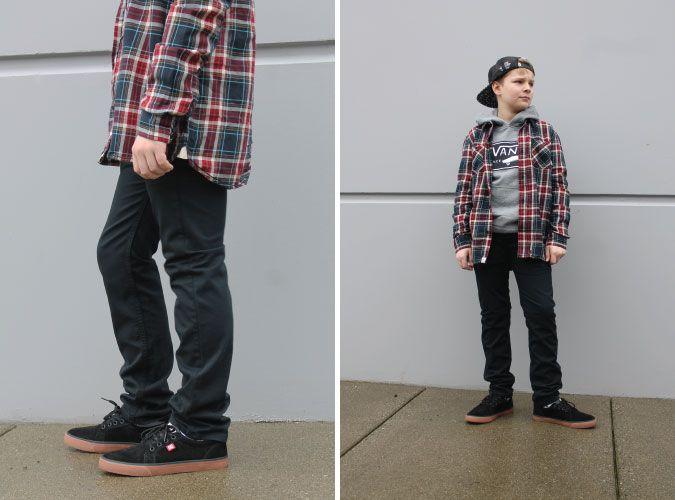 @vans Boy's Birch Buttondown Shirt, Full Patch Hoody & V76 Skinny Jean
