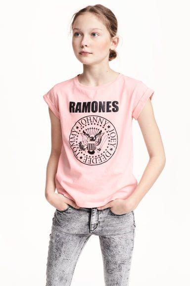 Top in jersey con stampa - Rosa chiaro/Ramones - BAMBINO   H&M IT