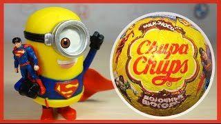 МИНЬОНЫ в костюмах супергероев открывают шоколадные шарики Чупа-Чупс. Unboxing Chocolate Eggs - YouTube