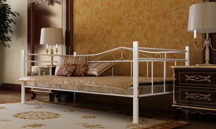 Tagesbett Einzelbett 90x200 Metallbett Metall Bett Bettgestell Bett Sofa weiß