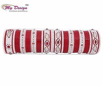 Indian Traditional Punjabi Bridal Chura Wedding Chuda Bangles Set Size 2.4