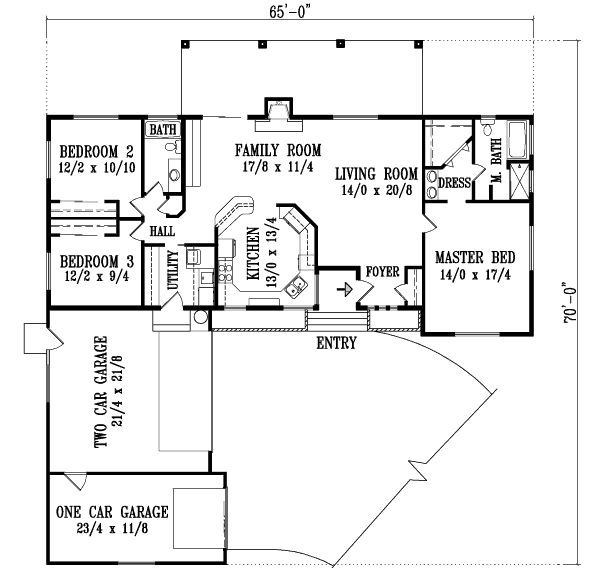 Ranch Style House Plans 1724 Square Foot Home 1 Story