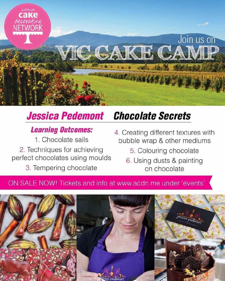 VIC Cake Camp! 26-28 May 2017  Yarra Valley, VIC   Join us for Australia's best cake decorating retreat! www.austcakedecoratingnetwork.com/vic-cake-camp  Cake Camp is a 3 day event starting Friday evening.   Cake Camp students can choose two different one-day courses for the weekend, so they do one course on Saturday and a different course on Sunday. This maximises learning outcomes for the weekend!  Join us for a weekend of cake, learning, shopping, champagne & fun!