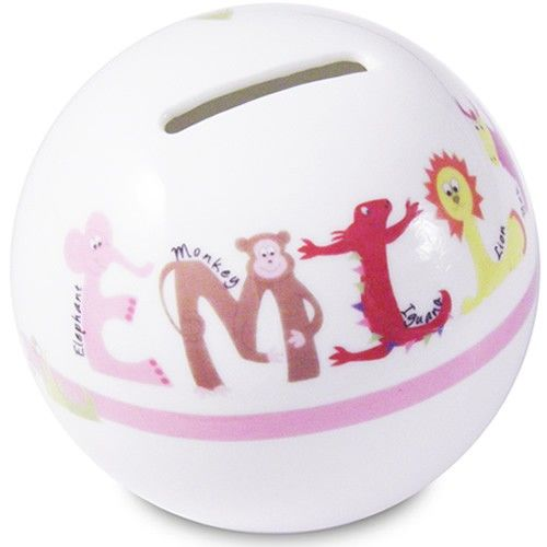 Personalised Money Box for Girls - Animal Alphabet  from Personalised Gifts Shop - ONLY £14.99