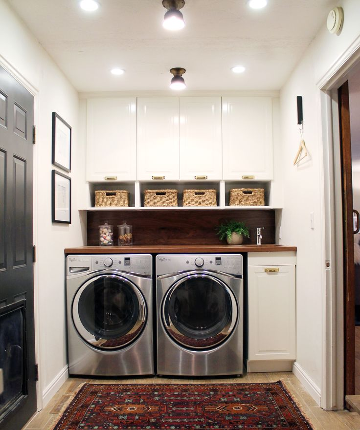 before and after a bathroom turned laundry room