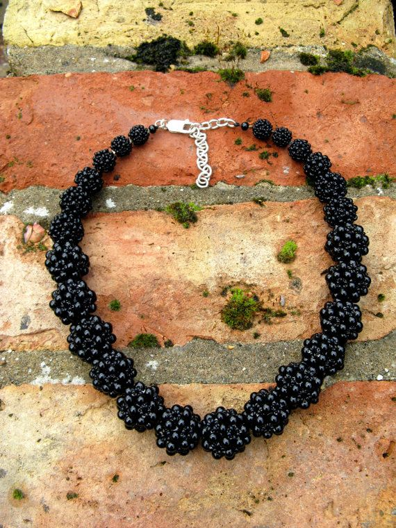 Beaded beads (blackberries) necklace