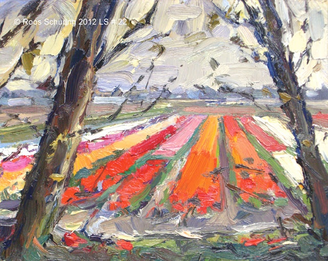 """Roos Schuring (dutch painter)  Landscape spring #22 Bulbfields - """"Lappendeken"""" and trees"""