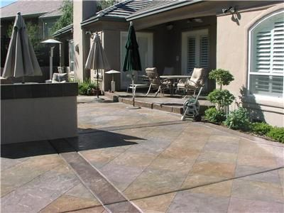 option creating a concrete stamped create finish budget to broom is friendly patio this backyard traditional