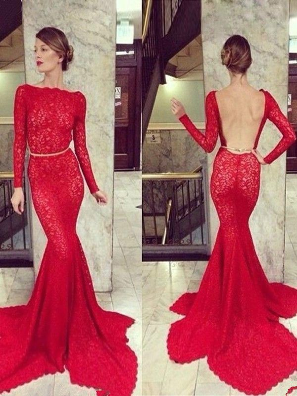Red Long Sleeve Backless Mermaid Prom Dress Party Gown Formal Evening Dresses #Handmade #BallGown #Cocktail