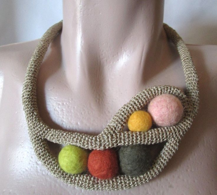 Crocheted Necklace , Crochet Collar, crochet jewellery, Wearable Art Free Form Design by AgathaBee on Etsy