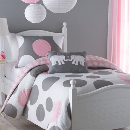 Gray Polka Dot Toddler Bedding