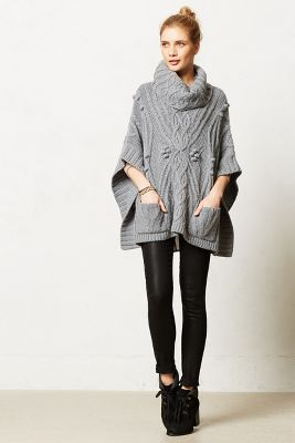 Anthro; Cable Cowl Poncho $158 By; Sleeping on Snow|| This is good inspiration for making my own. I think the pockets are a good idea. Not sure about the cowl neck, but whatever.