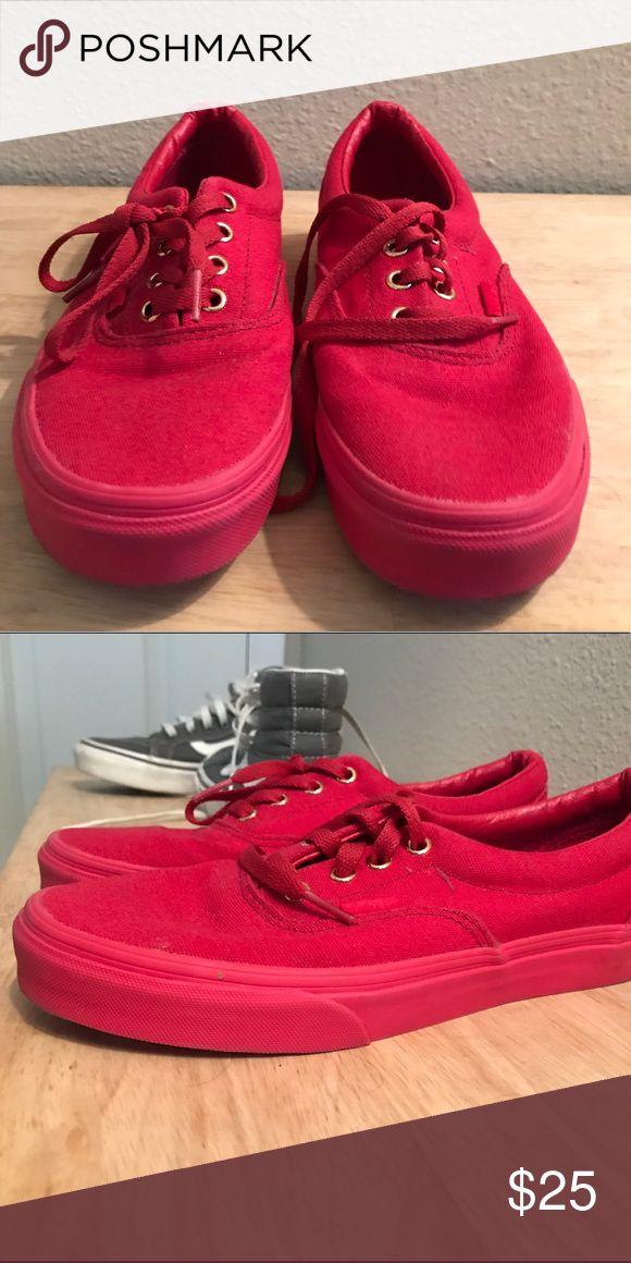 All red vans Worn once! Vans Shoes Sneakers