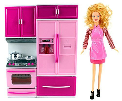 My Happy Kitchen Stove & Refrigerator Battery Operated Toy Doll Kitchen Playset w/ Toy Doll, Lights, Sounds, Perfect for Use with 11-12 Tall Dolls