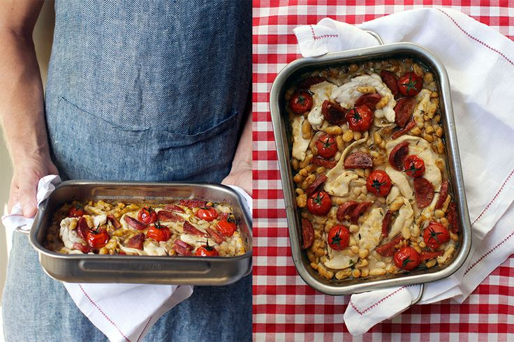 One tray chicken, salami and white bean bake from www.movingouteatingin.com by Lizzie Hewson.