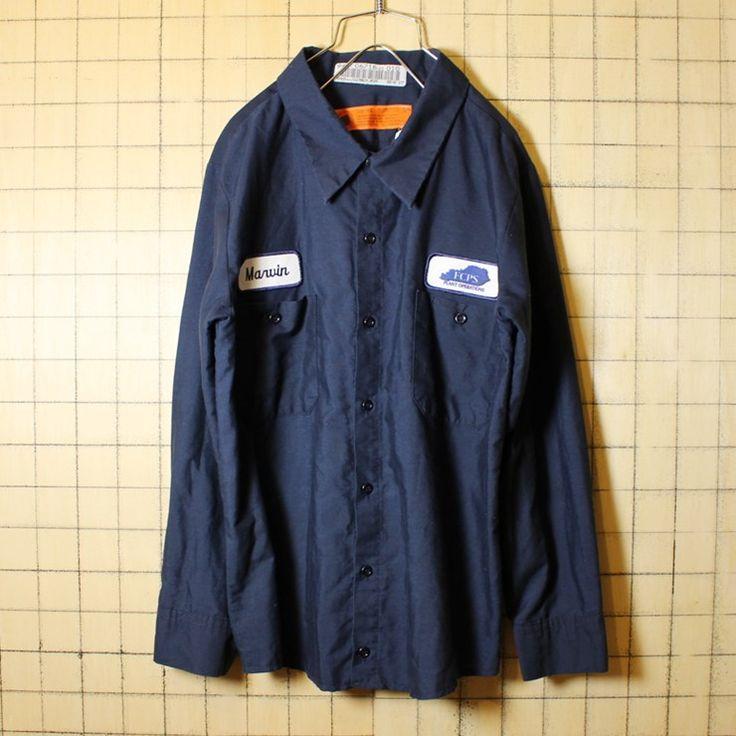 古着 リサイズ ワークボックスシャツ USA製 ワッペン 刺繍 長袖 ネイビー メンズM相当