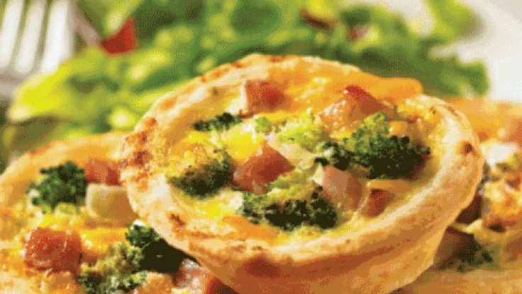 Cheddar, Ham and Broccoli Quiches