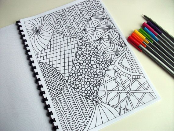 Printable Coloring Page Zentangle Inspired Abstract by JoArtyJo, $2.00