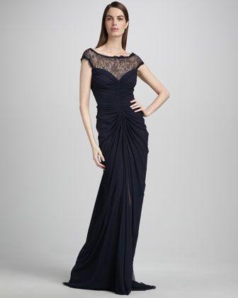 Tadashi Shoji Cap-Sleeve Lace Illusion Gown - Neiman Marcus