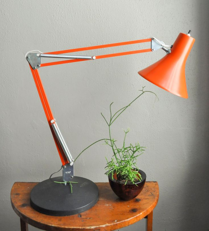Vintage Modern Luxo Orange Lamp Gorgeous Industrial Mid Century Task Drafting Adjustable Work Light Architect by drowsySwords on Etsy