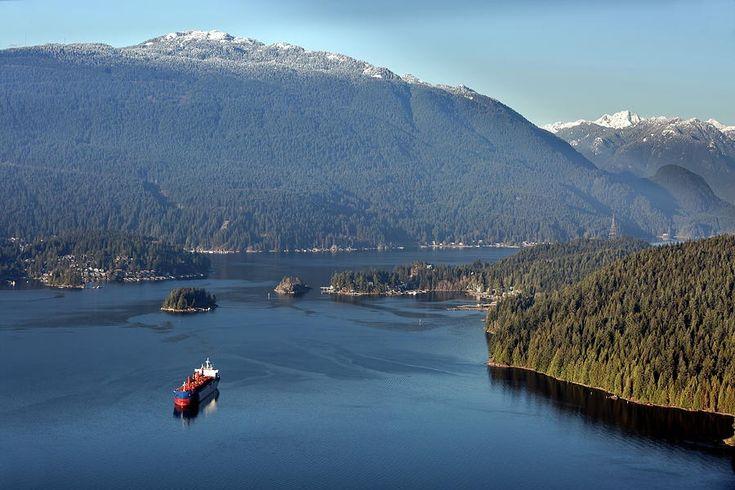 Indian Arm Photograph - Ocean Ship In Burrard Inlet by Alex Lyubar    #AlexLyubarFineArtPhotography #VancouverCanada #DeepCove #Sea&Mountain #ArtForHome #FineArtPrint