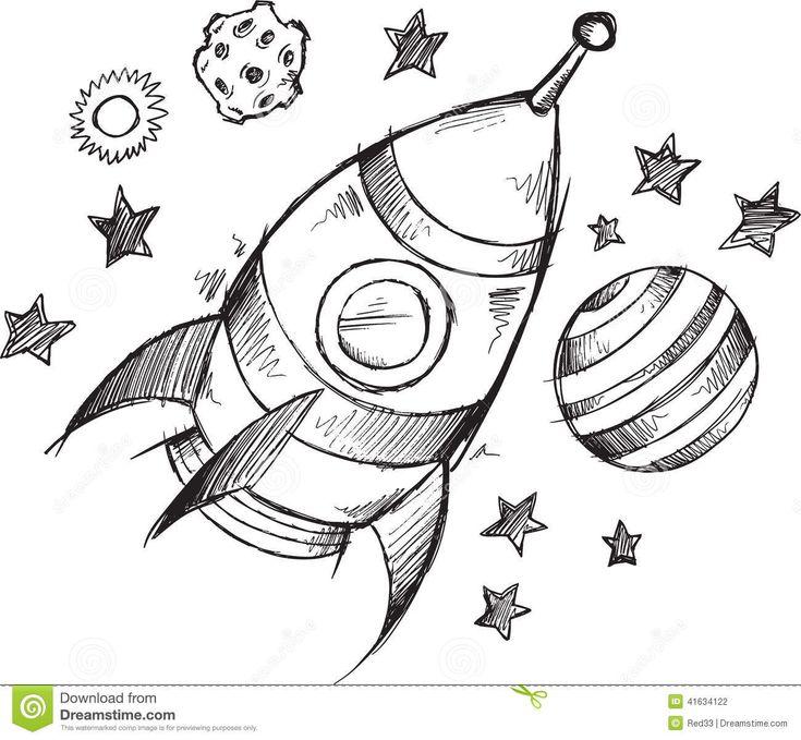 Rocket Space Doodle Sketch Vector Stock Vector - Image ...